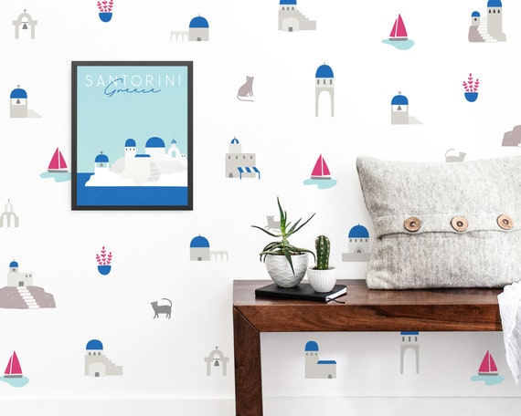 Wall Decals and Art Print Bundle - Santorini Themed Wall Art Set