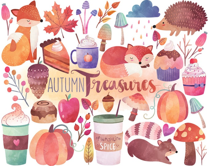 Watercolor Autumn Clipart - Watercolor Clipart, Fall Clipart, Autumn Clipart, Digital Clipart, Scrapbooking Clipart Digital Printable