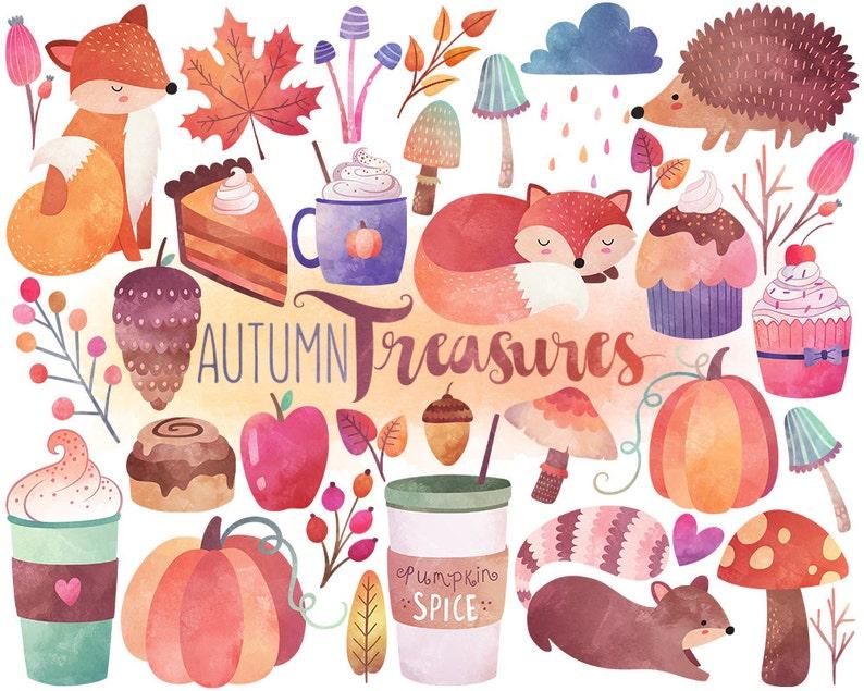 Watercolor Autumn Clipart  Watercolor Clipart Fall Clipart image 0