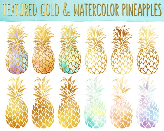 Pineapple Clipart - Gold Texture Pineapples, Watercolor Pineapples Clip Art Set - PNG & JPG Files, Summer Clipart, Cute Fruit Clip Art