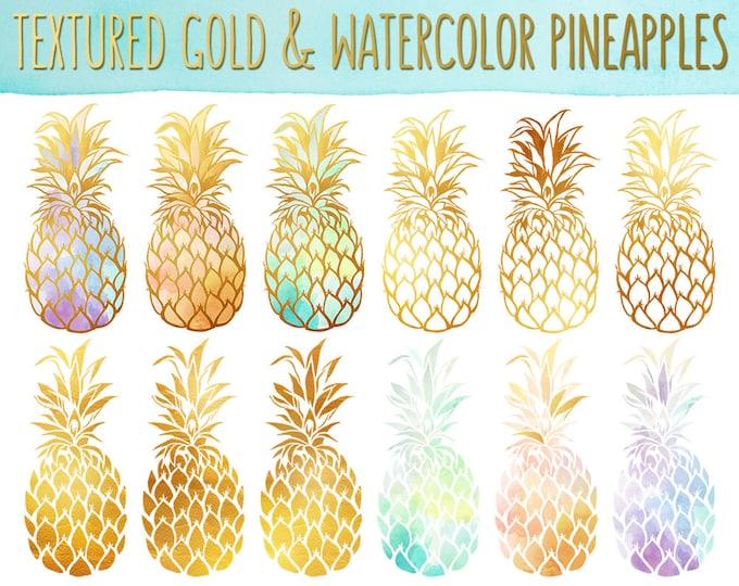 Pineapple Clipart - Gold Texture Pineapples, Watercolor Pineapples Clip Art Set - PNG & JPG Files, Summer Clipart, Cute Fruit Clip Art