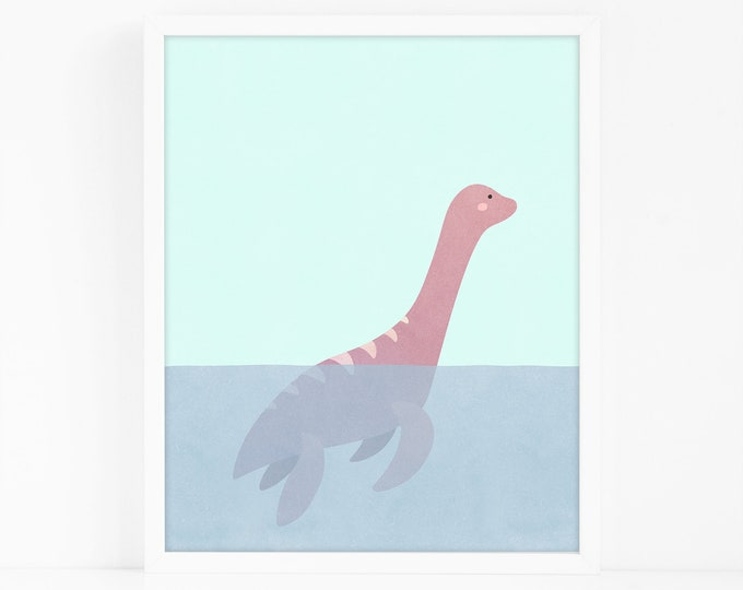 Loch Ness Monster Art Print - Nursery Art, Watercolor Wall Art, Wall Decor, Kids Art Print, Kids Bedroom Decor