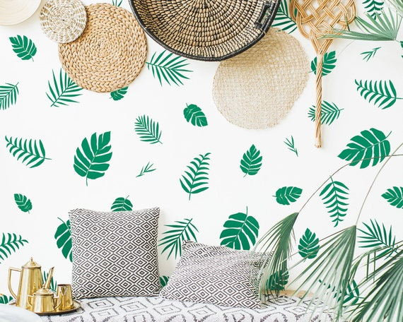 Tropical Leaf Decals - Palm Leaf Wall Decals, Tropical Wall Decor, Palm Leaf Stickers, Gift For Her, Wall Stickers, Bedroom Decals