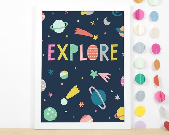 Kids Room Art Print - Outer Space Art Print, Nursery Art, Wall Art, Wall Decor, Explore Print for Baby or Kid's Bedroom