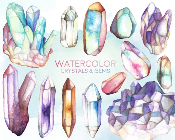 Watercolor Crystals and Gems Clipart - 13 Hand Painted Crystal Clusters, Minerals & Stones Clip Art - Unique Design Elements