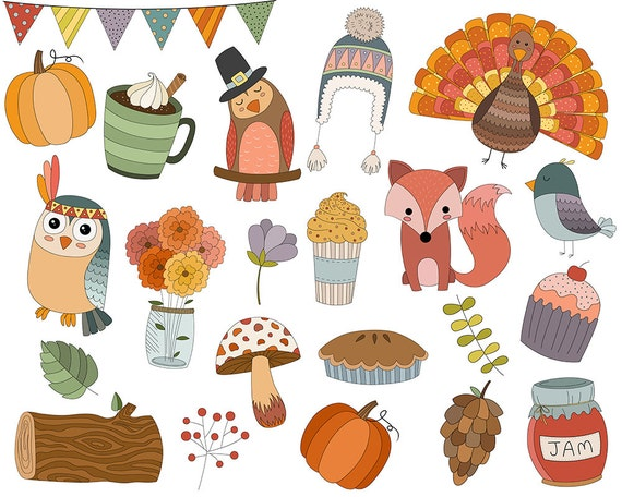 Autumn Doodles Clip Art - Set of 22 300 DPI PNG, JPG, and Vector Files - Cute Fall/Thanksgiving Seasonal Holiday Clipart Design Elements