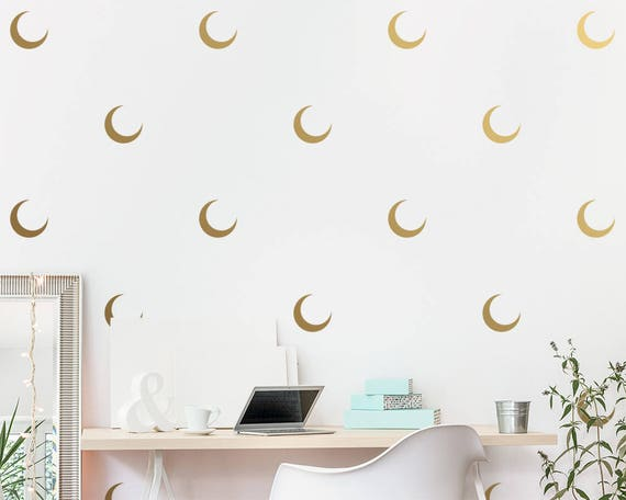 Crescent Moon Wall Decals - Moon Decals, Modern Decals, Vinyl Wall Decals, Minimalist Wall Decor, Wall Sticker, Wall Decor