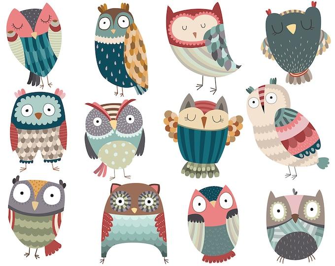 Owl Clipart - Set of 12 Unique Hand Drawn Owls - 300 DPI Vector, PNG, & JPG Files - Cute Birds Clip Art and Grahpics