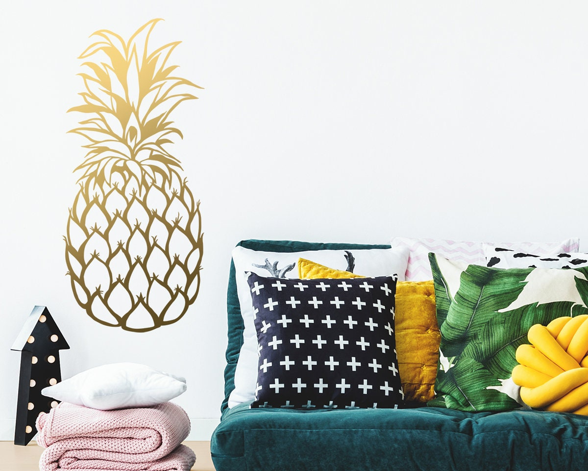 Pineapple Wall Decal Large Wall Decal Gold Vinyl Decals