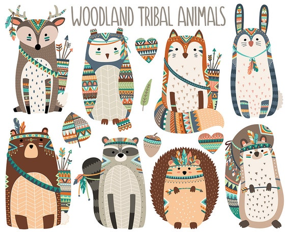 Woodland Tribal Animals Clipart - Forest Animal Clip Art, Tribal Clipart, Digital Download, Cute Woodland Nursery, Digital Clipart Set