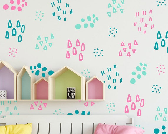 Abstract Pattern Wall Decals, 3-Color Hand Drawn Pattern Wall Decals, Polka Dot Decals, Cute Wall Stickers, Nursery Decal, Kids Room Decals