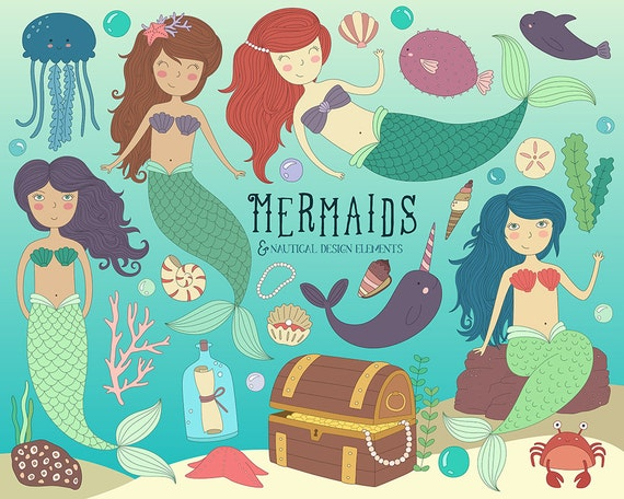 Mermaid Clipart - Ocean Clipart, Sea Life Clipart, Cute Mermaid Clip Art Set, Vector Ocean Design Elements