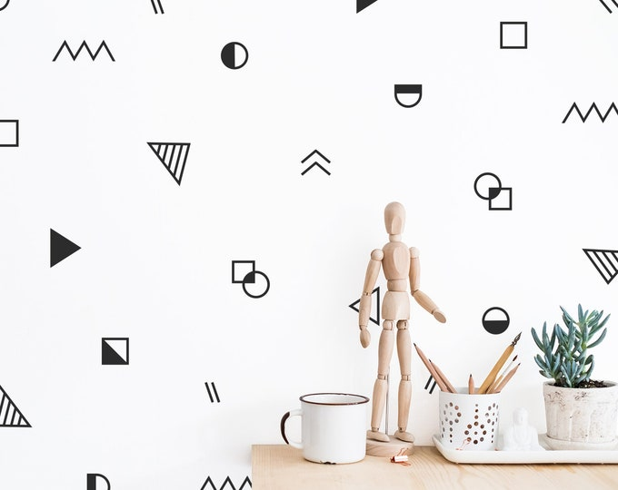 Abstract Shapes Wall Decal Set - Kids Room Decals, Abstract Modern Wall Art, Unique Wall Decor, Wall Sticker, Nursery Decal, Home Decor Gift