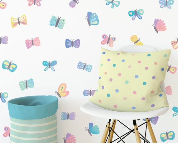 Butterfly Decals - Wall Decals, Wall Decor, Reusable Decals, Nursery Decor, Watercolor Wall Art, Kids Bedroom Decor, Unique Wall Stickers