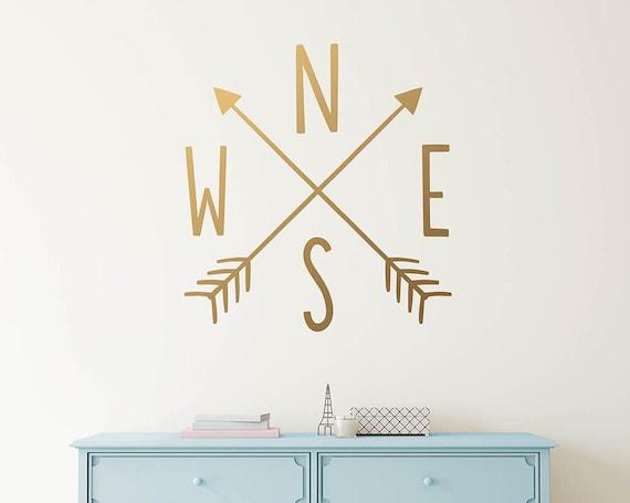 Arrow Compass Wall Decal - Arrow Decals, Nursery Decal, Vinyl Wall Decal, Compass Wall Sticker, Tribal Nursery Decor
