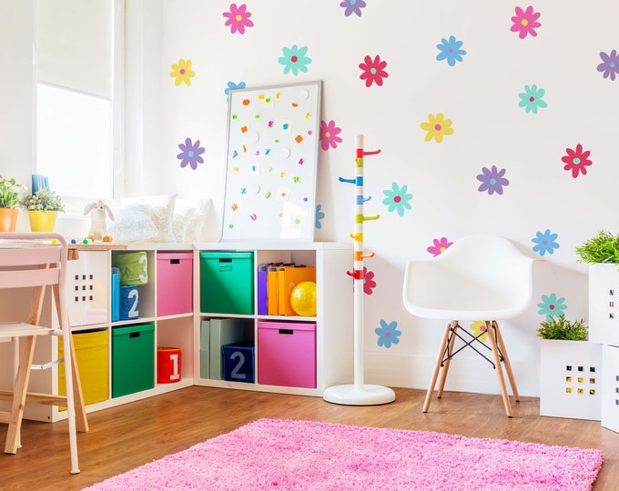 Daisy Wall Decals - Floral Wall Stickers, Nursery Decor, Kids Room Wall Art