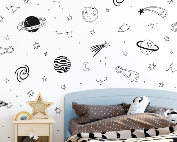 Space Wall Decals - Nursery Decals, Star Decals, Kids Room Decor, Nursery Decor, Wall Stickers