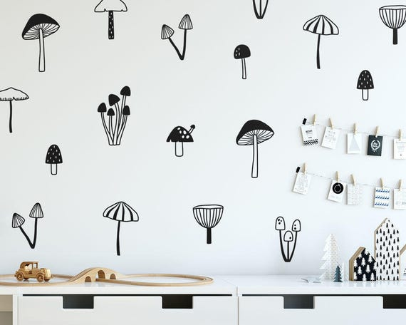 Mushroom Wall Decals - Woodland Nursery Decals, Forest Decals, Kids Room Wall Decals, Woodland Nursery Wall Stickers