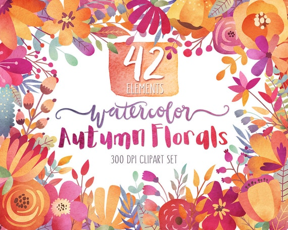 Watercolor Autumn Floral Clipart - Fall Flowers Clipart, Watercolor Clipart, Autumn Clip Art, Floral Watercolor Clipart Set, Digital Clipart