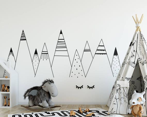 Patterned Mountains Wall Decal - Mountain Decal, Woodland Nursery, Tribal Wall Decals, Scandinavian Mountains Decal, Tribal Nursery Decal