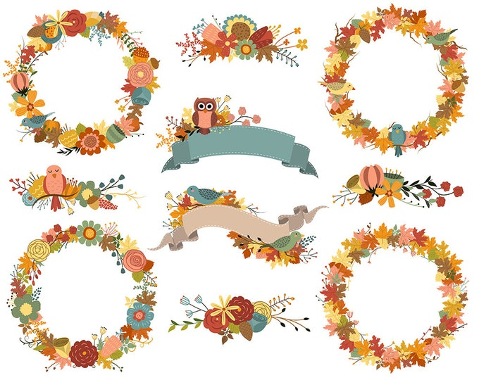Autumn Wreaths and Fall Floral Designs Clip Art - 300 DPI PNG, JPG, and Vector Files - Banners and Flowers Clipart Set