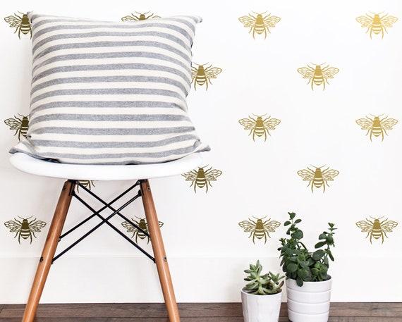 Bee Wall Decals - Bedroom Decals, Living Room Decals, Wall Decor, Wall Stickers, Bee Wall Art, Honey Bee Art