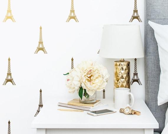 Eiffel Tower Decals - Paris Wall Decal, Vinyl Wall Decals, Metallic Decals, Gold Wall Decor, Nursery Decals, Wall Stickers