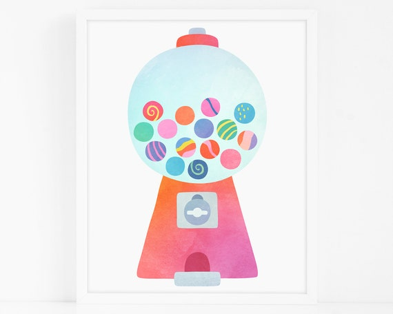 Gumball Machine Art Print - Nursery Art, Watercolor Wall Art, Wall Decor, Kids Art Print, Kids Bedroom Decor
