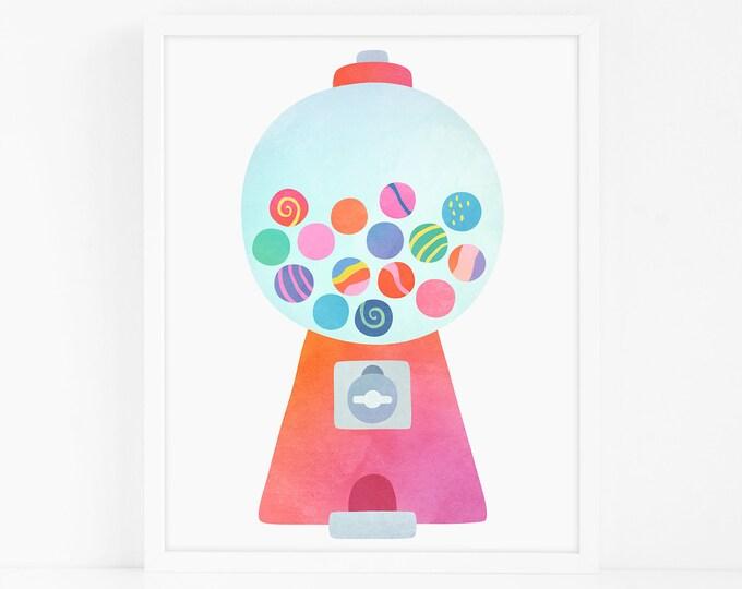 Gumball Machine Art Print - Nursery Art, Watercolor Wall Art, Wall Decor, Kids Art Print, Kids Bedroom Decor