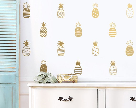 Pineapple Wall Decals - Vinyl Decals, Hand-Drawn Patterned Pineapple Decals, Modern Decals, Unique Wall Decor, Pineapple Decal, Wall Sticker