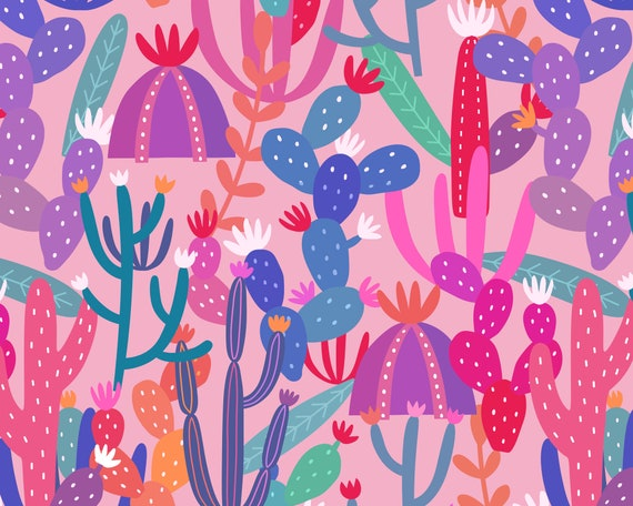 Cactus Wallpaper - Peel and Stick Removable Wallpaper, Kids Room Wall Decor, Succulent Wallpaper, Nursery Wall Art, Cactus Decor