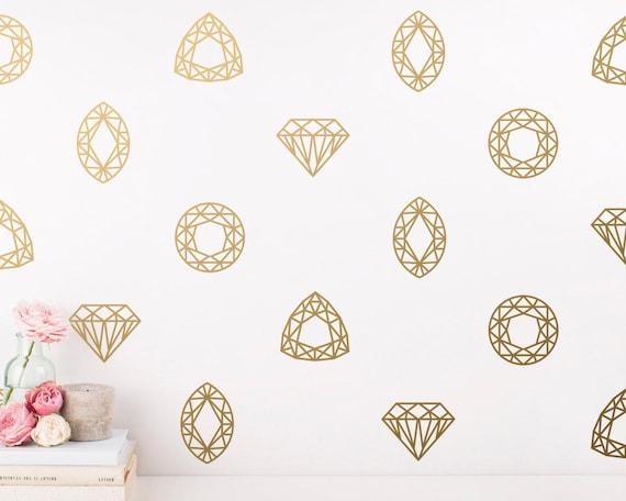 Geometric Wall Decals - Jewel Wall Decals, Diamond Decals, Modern Wall Decals, Gold Decal, Unique Modern Decor