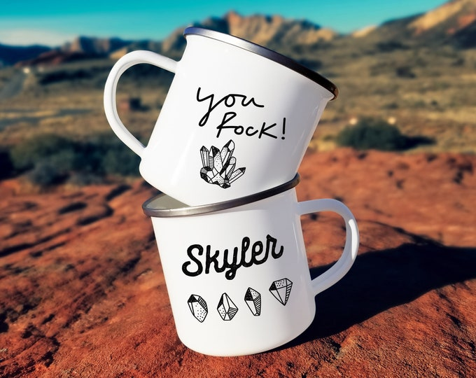 You Rock Personalized Camp Mug - Custom Name Mug, Personalized Mug, Mug Gift, Self Care Quote, Science Gift, Personalized Gift, Custom Gift