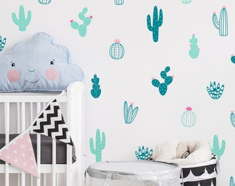 Cactus Wall Decals - Multicolor Vinyl Wall Decals, Nursery Wall Decals, Nursery Wall Stickers, Kids Room Decals, Cute Colorful Cacti Decals