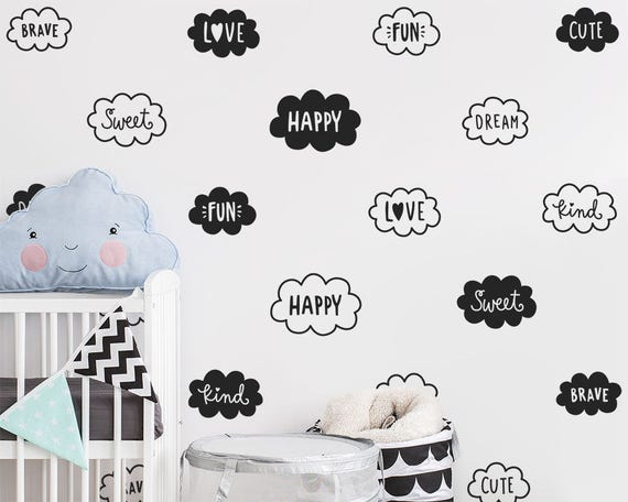 Cloud Wall Decals - Nursery Decals, Cute Cloud & Words Wall Decal Set, Vinyl Wall Decals, Nursery Decor, Kids Room Wall Stickers
