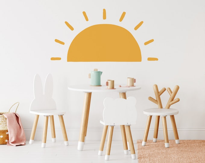 Half Sun Wall Decal - Sunshine Wall Stickers, Boho Nursery, Kids Room Wall Art, Playroom Decor