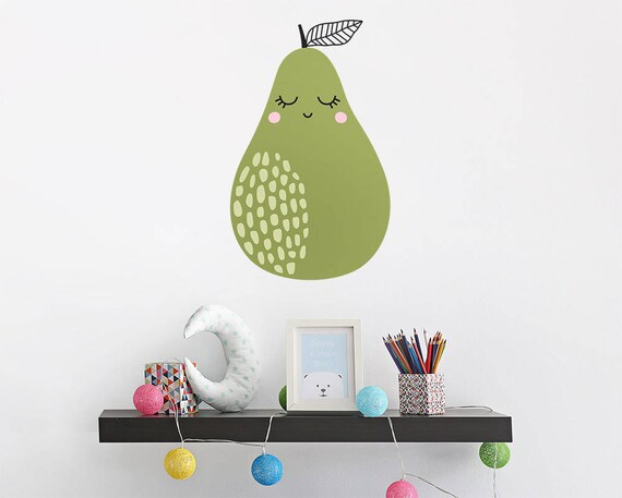 Pear Wall Decal - Vinyl Wall Decal, Hand Drawn Nursery Decal, Kids Bedroom Decal, Cute Wall Sticker, Scandinavian Nursery Wall Decor