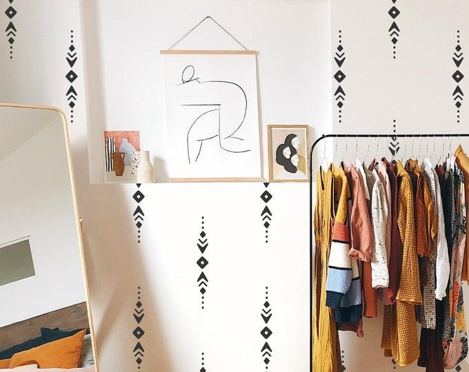 Tribal Pattern Wall Decals - Modern Wall Stickers, Boho Nursery Decor, Kids Room Wall Art, Scandinavian Home Decor