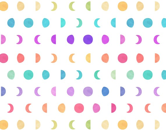 Moon Phases Wallpaper - Peel and Stick Removable Wallpaper, Watercolor Rainbow Wall Decor, Celestial Art, Nursery Wallpaper
