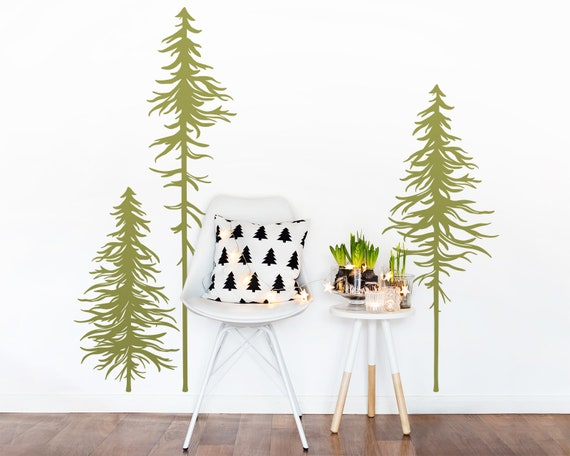 Set of 3 Pine Tree Wall Decals - Forest Decals, Forest Mural, Gift for Her, Gift for Him, Gift for Mom, Woodland Nursery, Pine Tree Decals