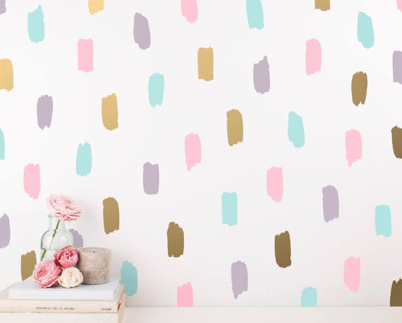 Paint Daub Wall Decals - Wall Decor, Vinyl Wall Decal, Wall Sticker, Nursery Decor, Gift for Her, Gift for Daughter, Gift, Abstract Wall Art