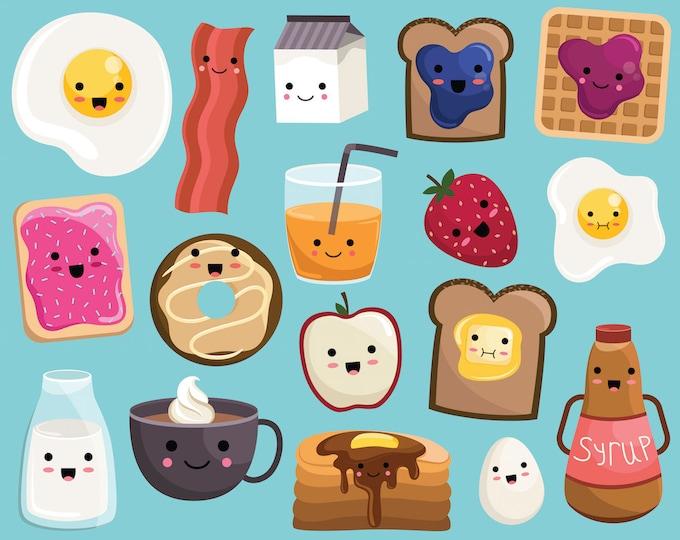 Kawaii Breakfast Food Clipart - Vector, PNG & JPG Files - 300 DPI Cute, Hand Drawn Food Clip Art Set