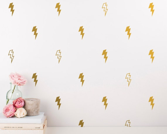 Lightning Wall Decals - Gold Vinyl Decal Set, Unique Wall Decals, Silver Decals, Lightning Bolt Vinyl Great for Home Decor, Gifts, & More!
