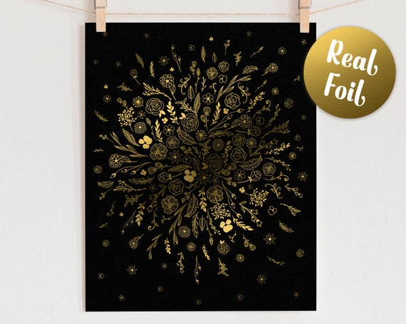 Flower Burst Gold Foil Art Print - Real Foil Print, Floral Art, Gold Foil Wall Art, Botanical Decor, Unique Home Decor Print, Gift for Home