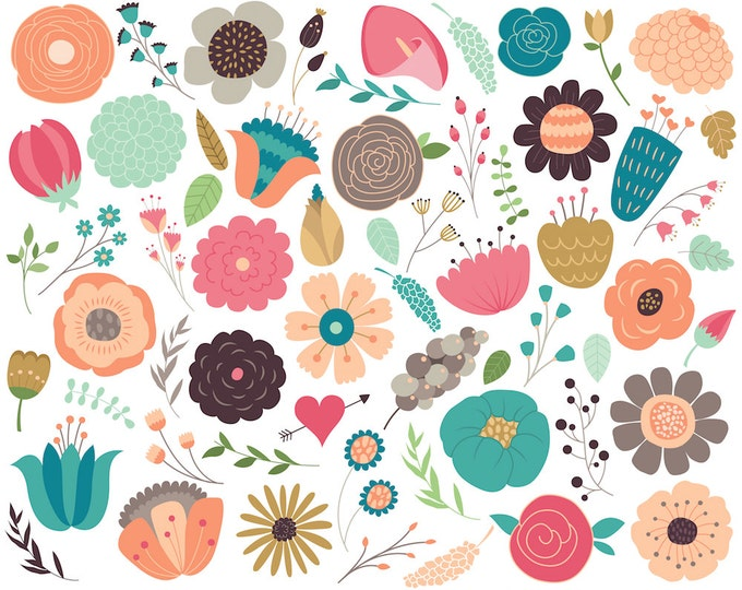Flower Clipart Set and Floral Design Elements - 61 300 DPI PNG & Vector Files - Spring Clip Art, Flowers and Florals