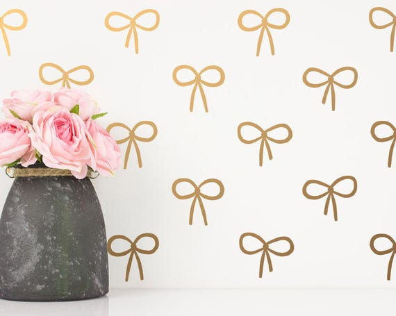Bow Wall Decals - Cute Hand Drawn Bow Decals, Girls Room Decals, Gold Decals, Vinyl Wall Decals, Cute Wall Stickers