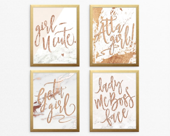 Wall Art Prints - Marble & Rose Gold Digital Office Prints, Lady Boss, Printable Wall Art, Get It Girl, Motivational Digital Download Prints