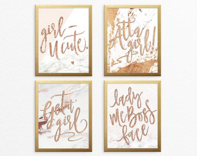 Wall Art Prints - Marble & Rose Gold Digital Office Prints, Lady Boss, Printable Wall Art, Get It Girl, Motivational Digital Download Prints