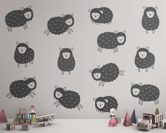 Sheep Wall Decals - Nursery Decals, Animal Decals, Cute Nursery Wall Decals, Kids Room Wall Decor
