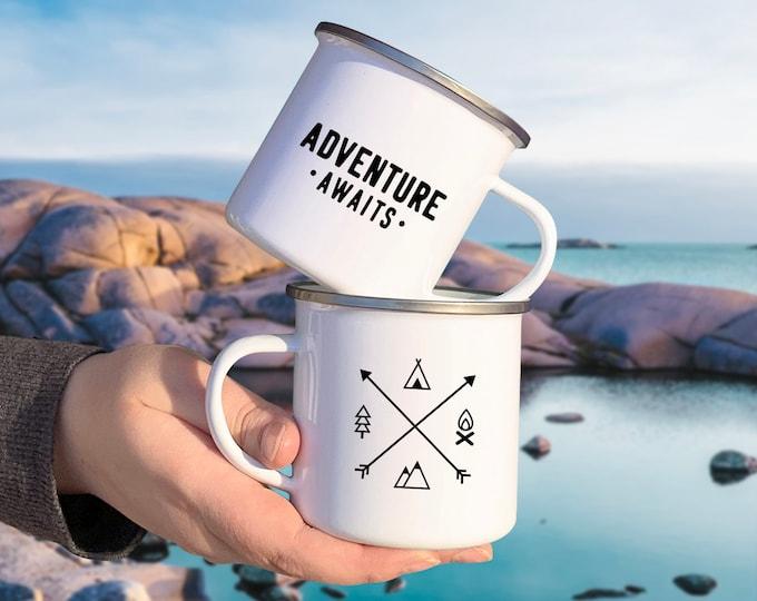 Adventure Awaits Camp Mug - Mug Gift, Adventure Gift, Wanderlust, Explorer, Adventure Quote, Camping Gift, Enamel Mug, Unique Gift, Travel